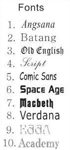 graveer plectrum lettertypes