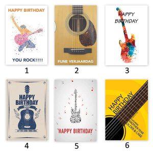 Verjaardagskaart voor gitaristen
