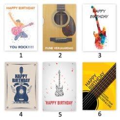 verjaardagskaart gitarist met plectrum